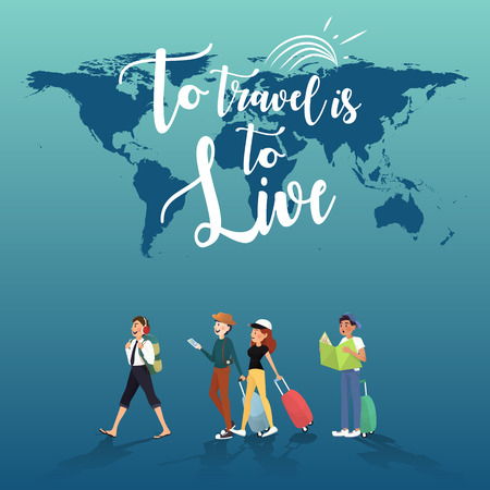 exploring: Travelling for exploring amazing things in this word illustration design