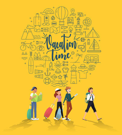 Vacation time for traveler to enjoy trip infographic design