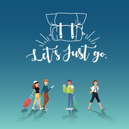 Let's go for amazing trip with friends illustration design