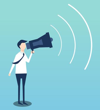 L'homme d'affaires annonce par l'illustration de conception plate de megaphone Banque d'images - 80950418