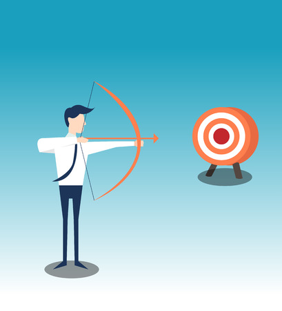 Archery shoots arows for successful goal illustration
