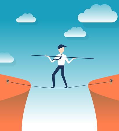 Rope walker risk flat design illustration Vektorové ilustrace