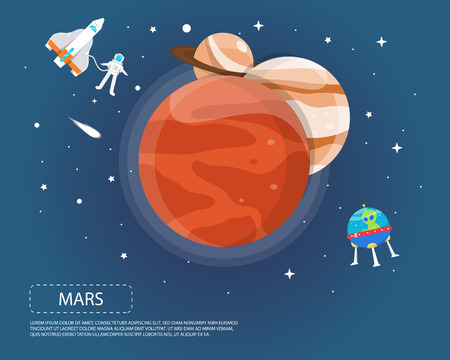 Mars Jupiter and Saturn of solar system illustration design