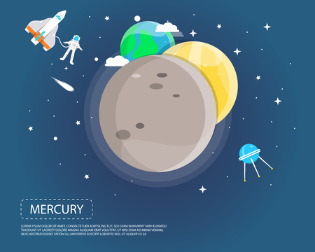 Mercury Venus and Earth of solar system illustration design