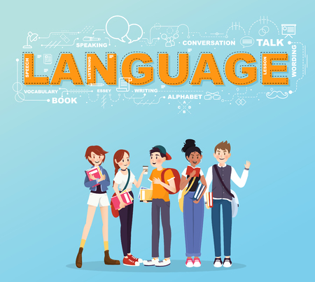 bilingual: A group of student studies many languages infographic design Illustration