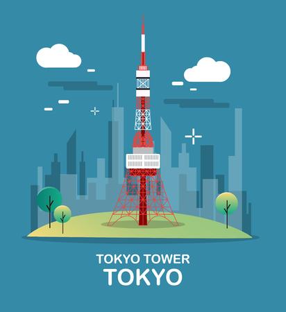 De toren mooie en hoge toren van Tokyo in de illustratieontwerp van Japan