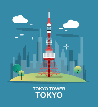 Tokyo tower beautiful and high tower in Japan illustration design