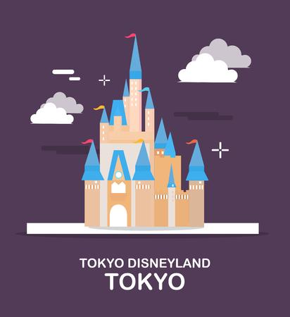 Tokyo Disneyland is verbazend pretpark in de illustratieontwerp van Japan