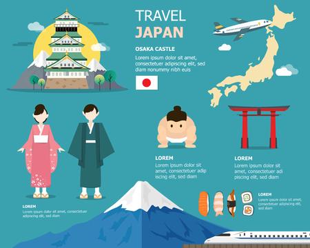 Japanese map for traveling in japan illustration design Illustration