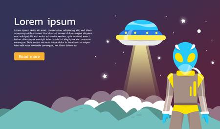 exploring: Alien with ufo exploring around planet Infographics Flat design. Vector illustration