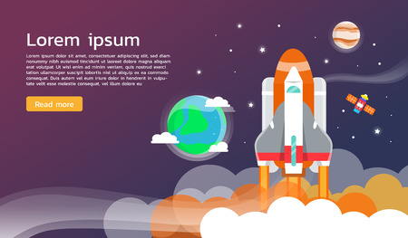 exploring: Space shuttle and planet in space infographic flat design Illustration
