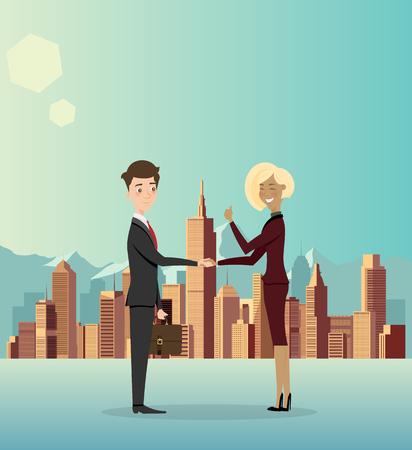 ビジネスマンは、ビジネスについて、市を協力します。ベクトルの図。