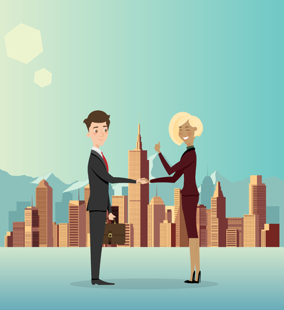 Businessmen cooperate about business in the city. Vector illustration.