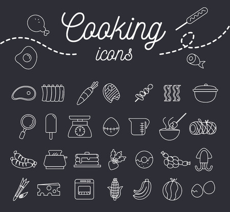 Cooking icon set with dessert fruit and equipment illustration.vector