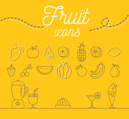 Fruit icons set illustration design on yellow background.vector