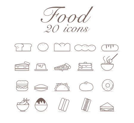 20 icons for food set infographic design.vector