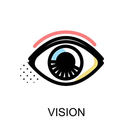Vision icon with eye symbol on white background with vector illustration design.