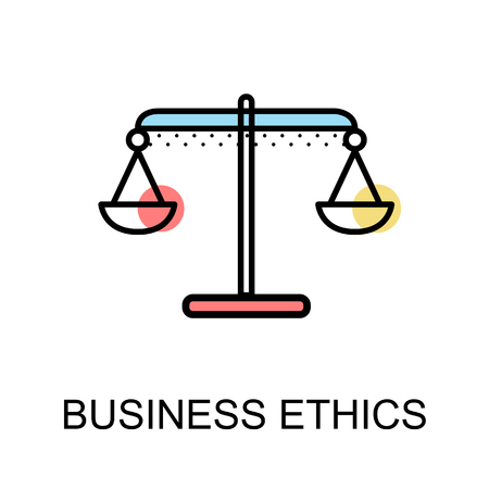 Business ethics icon with scales symbol on white background vector illustration design Vetores