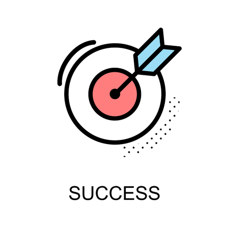 advantages: Success icon and arrow with dart board on white background vector illustration design. Illustration