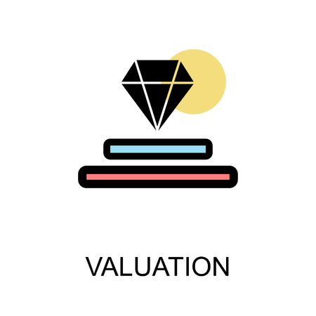 Valuation icon with diamond on white background illustration design.vector