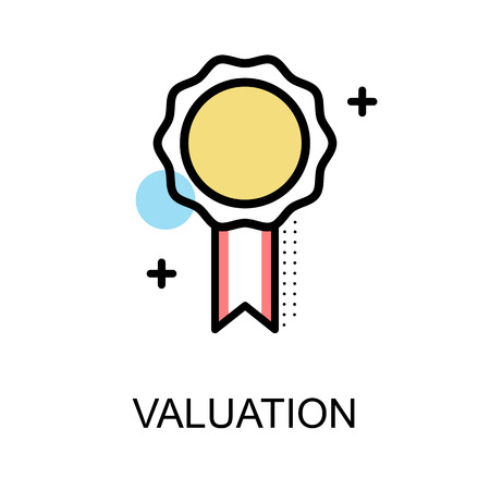 Valuation icon with medal on white background illustration design.vector