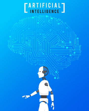 파란색 배경에 첨단 기술을 갖춘 AI (인공 지능) 일러스트