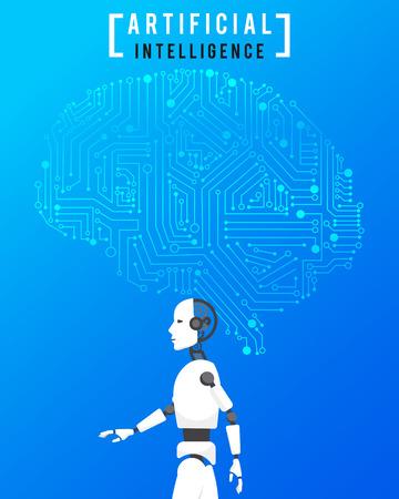 Kunstmatige intelligentie (AI) met geavanceerde technologie op blauwe achtergrond