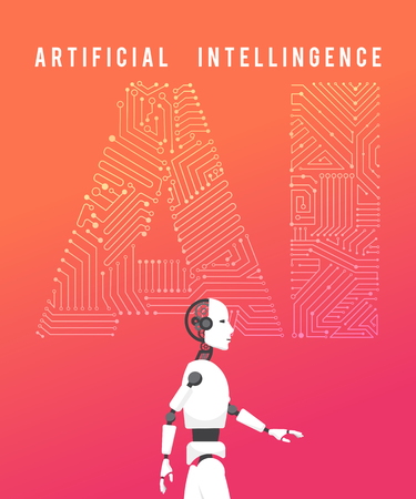 Artificial intelligence (AI) with high technology illustration design.vector Illustration
