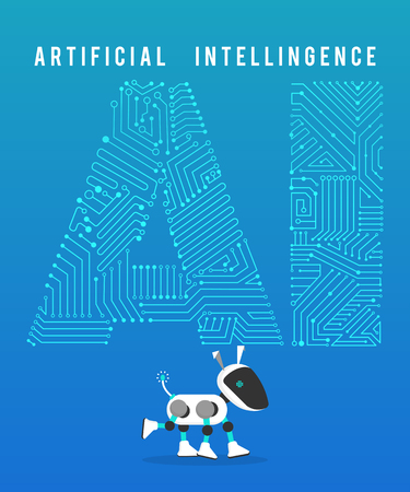 Robot and high-tech artificial intelligence on blue background.
