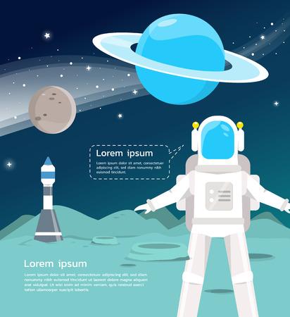 An Astronaut with spaceship surveying around uranus and mercury in universe  illustration.vector design