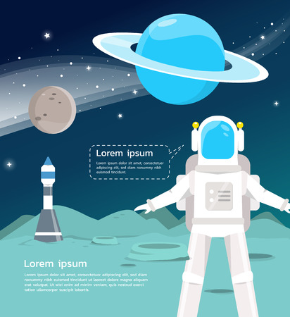 An Astronaut with spaceship surveying around uranus and mercury in universe  illustration.vector design