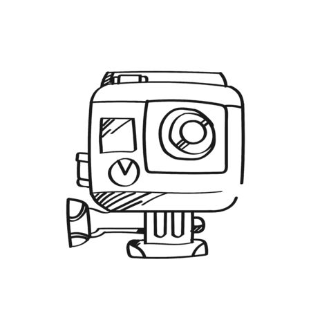 Drawing camera illustration .Black and white color line art