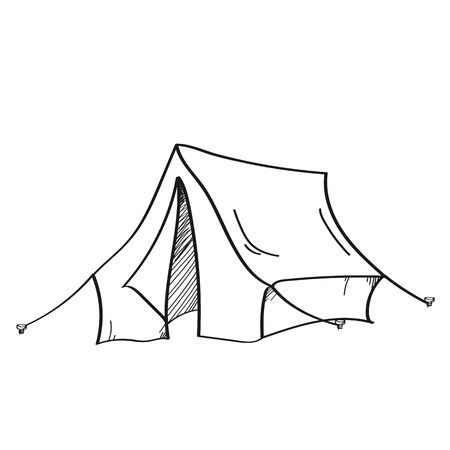 Camping illustration on a white background.Black and white color line art