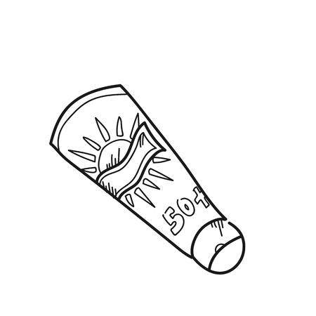 Sunscreen tube illustration on a white background Banco de Imagens