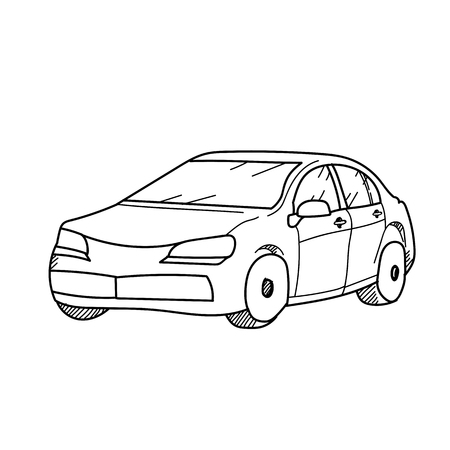 Car freehand drawing illustration on white background 스톡 콘텐츠