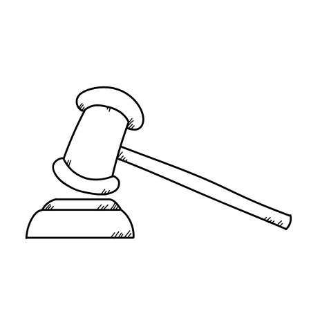 Hammer for approving freehand drawing illustration on white background