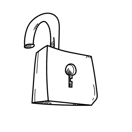 key hole: Unlock for achieving goal freehand drawing illustration