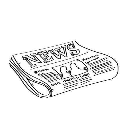 Newspaper for business freehand drawing illustration