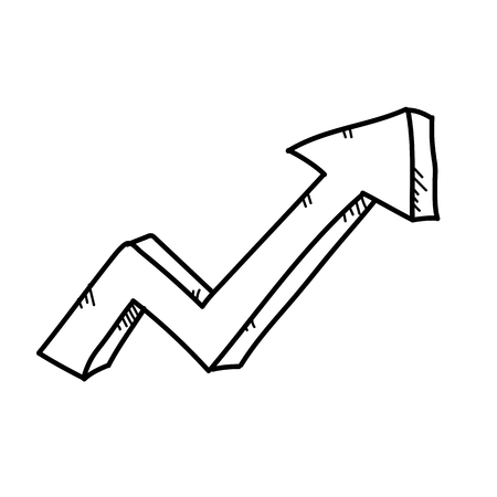 Increasing arrow for business freehand drawing illustration
