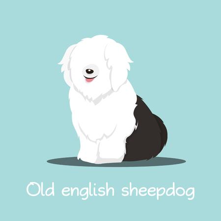 Cute old english sheepdog illustration graphic design.vector Illustration