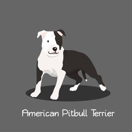 American Pitbull Terrier Haustier Cartoon Illustration Grafikdesign Standard-Bild - 81879575