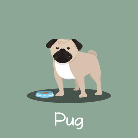 Pug dog cartoon with dog bowl illustration design.vector