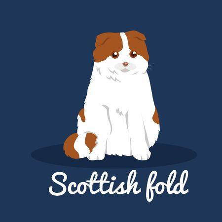 Scottish fold,cute cat on blue background.vector