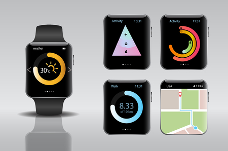 hand touch: Smart electronic intelligence watch.Vector illustration Illustration