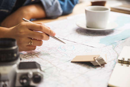 Travel Planning Map With Notepad Pen And Camera Stock Photo - Us travel planning map