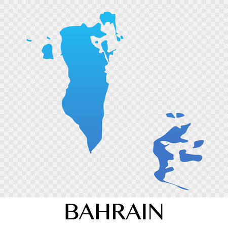 Bahrain map in Asia continent illustration design