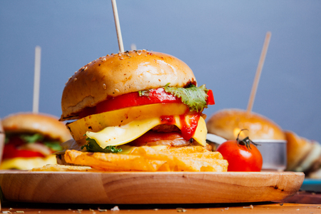 Homemade hamburger with fresh vegetables for everyone