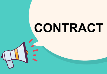 Contract word for announcement  illustration  graphic design