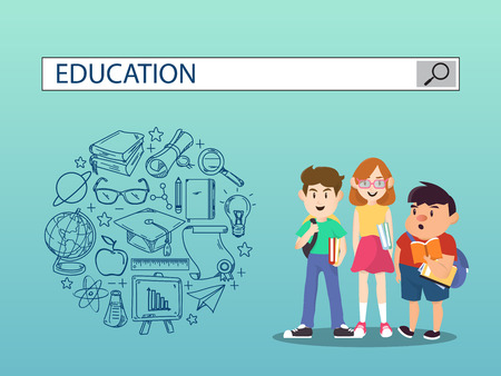 Three students with education search engine bar illustration design.vector