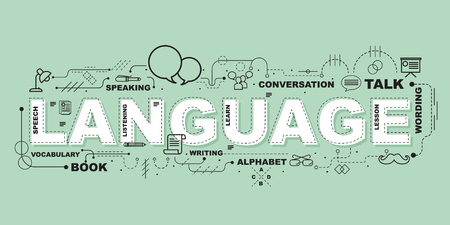 아이콘 플랫 디자인으로 교육을위한 언어 단어
